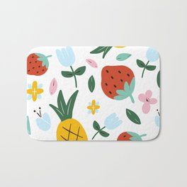 Strawberry and Pineapple hand-painted Bath Mat