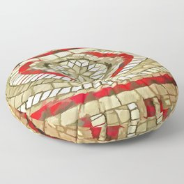 Mosaic Circular Pattern In Red and Gold Floor Pillow