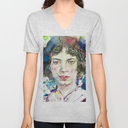 EMILY DICKINSON - watercolor portrait.3 Unisex V-Neck