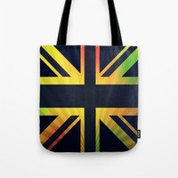 british flag Tote Bags featuring RASTA BRITISH FLAG by shannon's art space