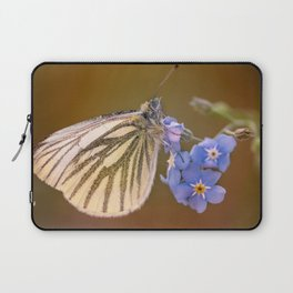 White and cream butterfly on forget-me-not flowers Laptop Sleeve