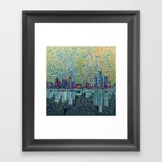 detroit city skyline Framed Art Print