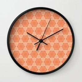 Orange Japanese Hemp Kimono Pattern Tie Dye Bitta Wall Clock