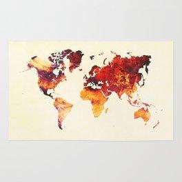 world map 89 art red Rug