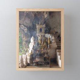 Buddhist Shrine Buddha Statues in Pak Ou Caves, Laos Framed Mini Art Print
