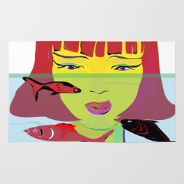 """""""Redhead Worry"""" Paulette Lust's Original, Contemporary, Whimsical, Colorful Art Rug"""