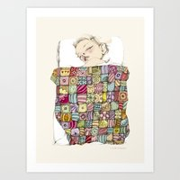 child Art Prints featuring sleeping child by Cecilia Sánchez