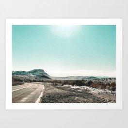 Desert Sunlight Snowfield // Vintage Nature Winter Scenery in Mojave Las Vegas Landscape Photograph Art Print