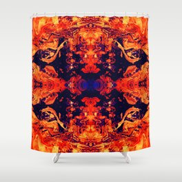 HARD RAYS Red Lava Shower Curtain