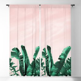 Turquoise Banana and palm Leaves Blackout Curtain