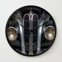 bmw Wall Clocks featuring Old BMW by Cozmic Photos