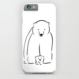 Mama and baby bear - line drawing iPhone Case