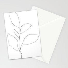 Five Leaf Plant Minimalist Line Drawing Stationery Cards