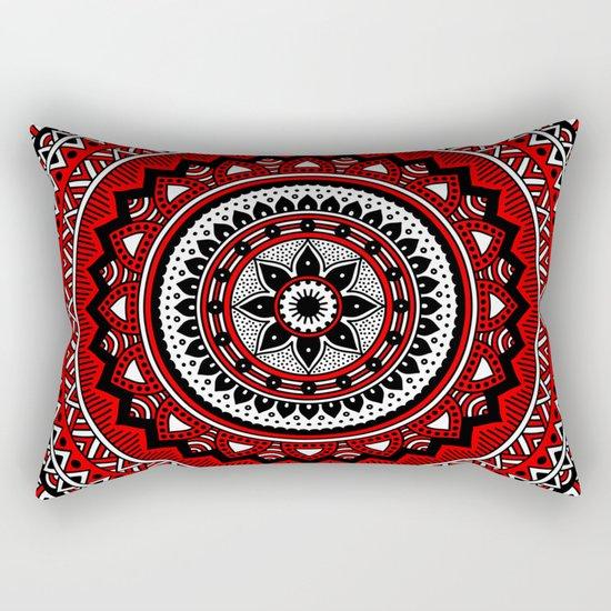 Red and Black Mandala Rectangular Pillow