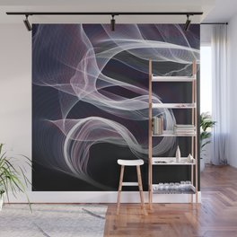 Moody & Beautiful Smoky lacy flux - black, blue, pink #abstractart Wall Mural