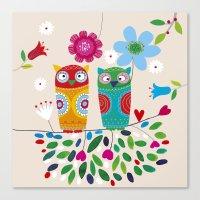 owls Canvas Prints featuring owls by Marianna Jagoda