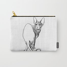Sphynx Cat Illustration - Sphynx - Cat Drawing - Naked Cat - Wrinkly Cat - Black and White Carry-All Pouch