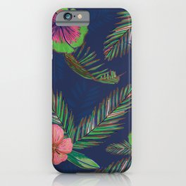Colorful Hand Drawn Hibiscus and Palm Leaves Artistic Pattern iPhone Case