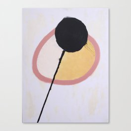 Side By Side, Yellow in Pink Circle 2018 Canvas Print