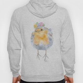 Robin Floral Wreath Watercolor Painting Hoody