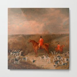Hunting With Dogs and Horse Famous Oil Painting Metal Print