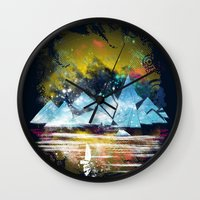 iceland Wall Clocks featuring iceland islands by frederic levy-hadida