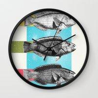 fish Wall Clocks featuring Fish by Danny Ivan