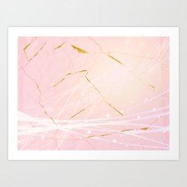 Rose Gold Marble Burst Art Print