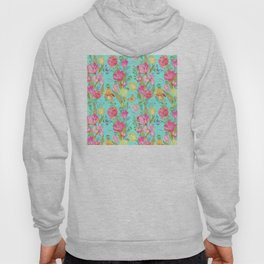 Tulips, Irises, and Butterflies Floral Pattern On Aqua Hoody