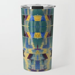 Avalon - Abstract Boho Geometry Green Blue Gold Travel Mug