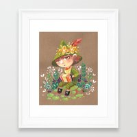 moomin Framed Art Prints featuring Snufkin playing Accordion by Foya