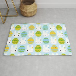 Kawaii Easter Bunny & Eggs Rug