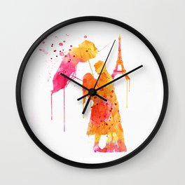 Watercolor Love Couple in Paris Wall Clock