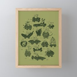 Critter Cars Framed Mini Art Print