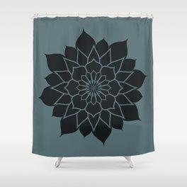 Mandala flower, dark grey geometrical floral pattern Shower Curtain