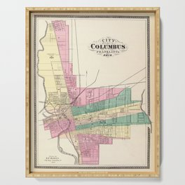 Map of Columbus 1872 Serving Tray
