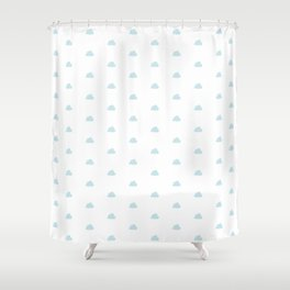 Baby blue small clouds pattern Shower Curtain