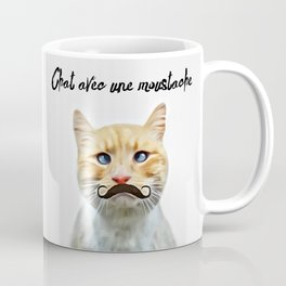 chat avec une moustache (Cat with a mustache in French) Coffee Mug