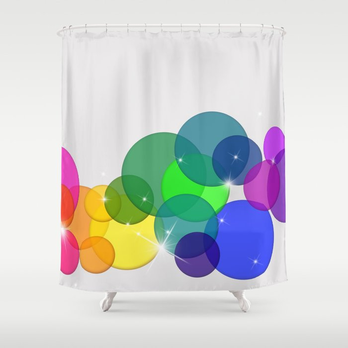 Translucent Rainbow Colored Circles with Sparkles - Multi Colored Shower Curtain