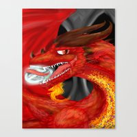 smaug Canvas Prints featuring Smaug by Chandlee Freudenberger