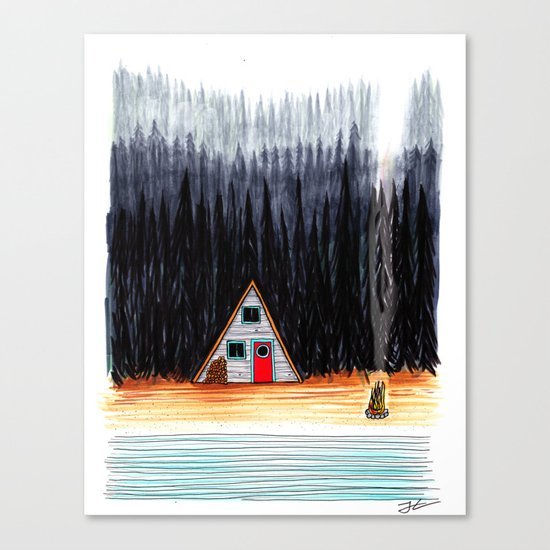 Cabin By The End Of The Road Canvas Print