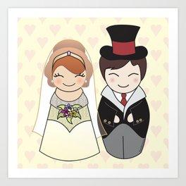 Kokeshis Just married Art Print