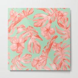 Island Life Coral Pink + Pastel Green Metal Print