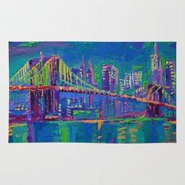New York City Night Lights - palette knife painting urban Brooklyn bridge skyline Rug