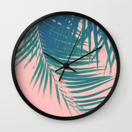 Palm Leaves Blush Summer Vibes #2 #tropical #decor #art #society6 Wall Clock