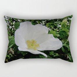 Wild White Rose in Full Bloom Rectangular Pillow