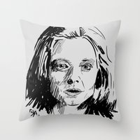 silence of the lambs Throw Pillows featuring Clarice Starling Sketch - The Silence of the Lambs by Soyarts
