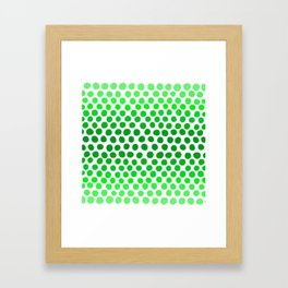 Apple Green and White Dots Ombre Framed Art Print