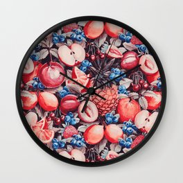 Watercolour Fruit - Cobalt/Carmine Wall Clock