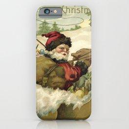 Vintage Santa Retro X-mas Illustration iPhone Case